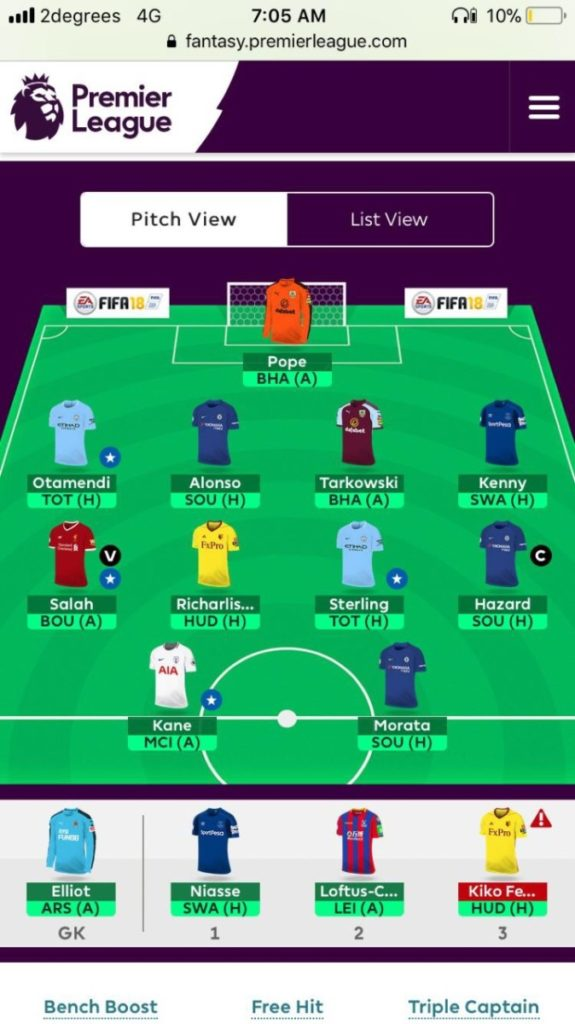 fantasy premier league GW18 team tips