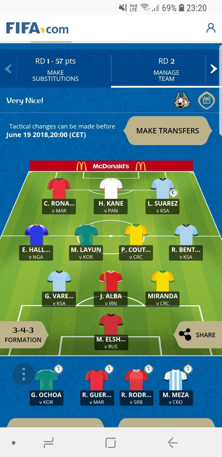 McDonalds Fantasy World Cup Wildcard