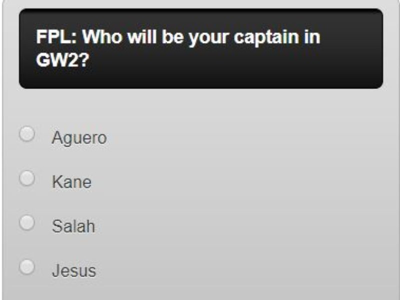fantasy premier league GW2 captain poll – plus a transfer in and out poll