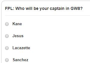 fantasy premier league gw8 captain poll