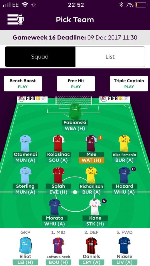fpl teams GW16
