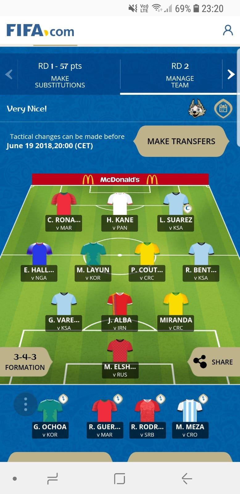 McDonalds Fantasy World Cup Wildcard