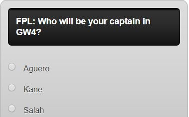 FANTASY PREMIER LEAGUE gw4 captain poll