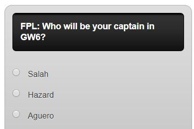 fantasy premier league GW6 captain poll