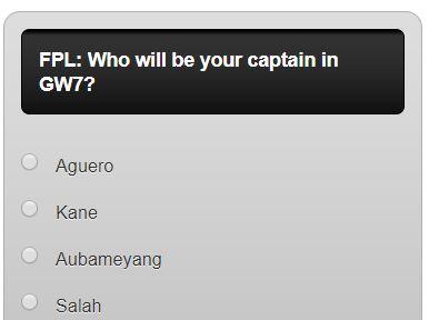 fantasy premier league GW7 captain poll