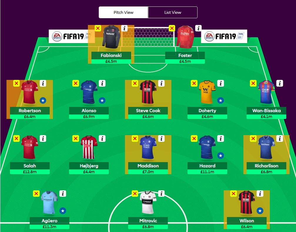 fantasy premier league team tips GW10