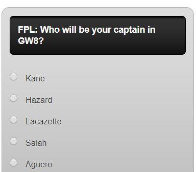 fantasy premier league GW8 captain poll