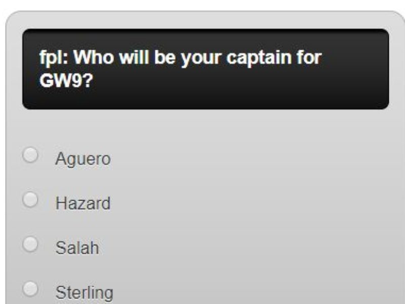 fantasy premier league GW9 captain poll – plus a transfer in and out poll