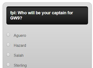 fantasy premier league GW9 captain poll