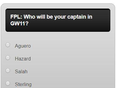 fantasy premier league GW11 captain poll