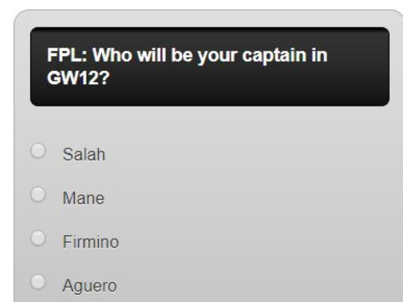 Fantasy premier league GW12 captain poll – plus a transfer in and out poll