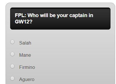 fantasy premier league GW12 captain poll
