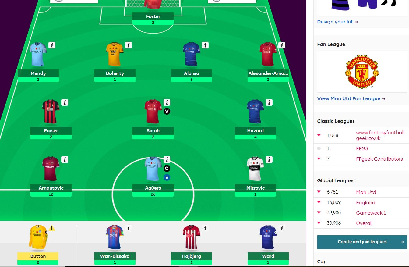 fantasy premier league team selection GW12