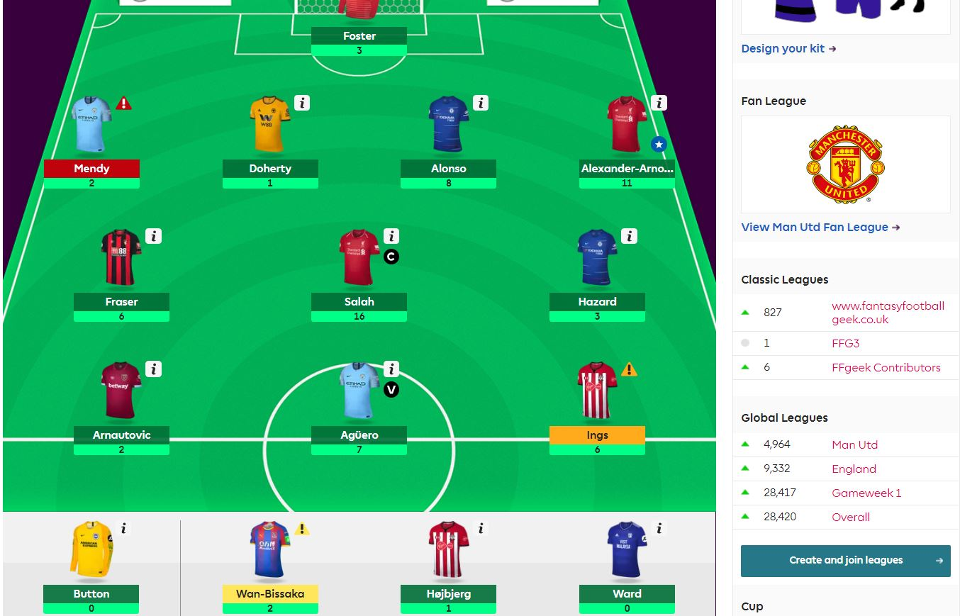 fantasy premier league team selection GW13