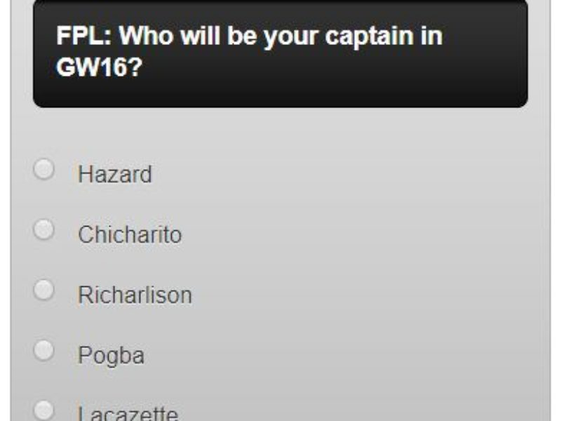 Fantasy premier league GW16 captain poll – plus a transfer in and out poll