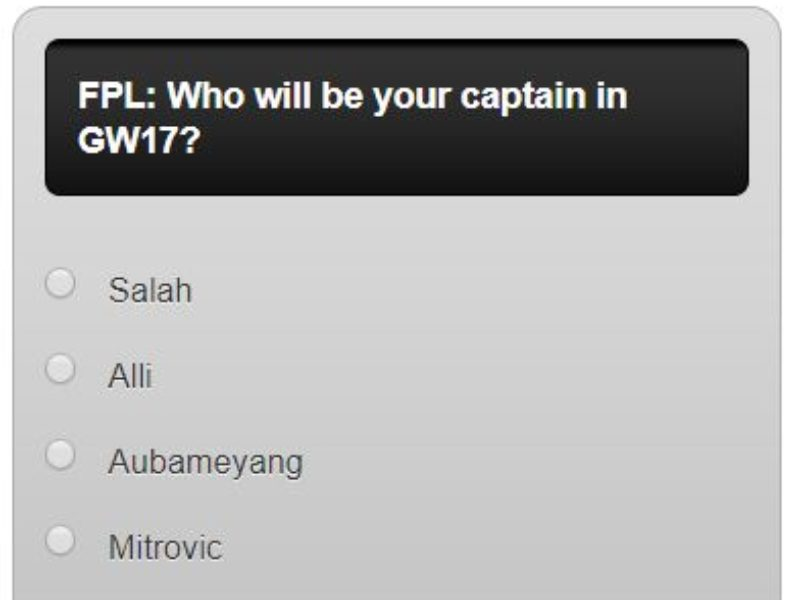 Fantasy premier league GW17 captain poll – plus a transfer in and out poll