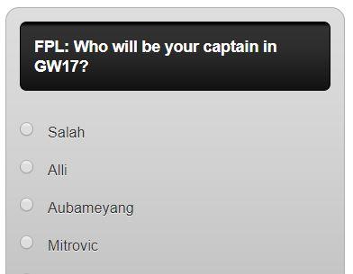 fantasy premier league GW17 captain poll