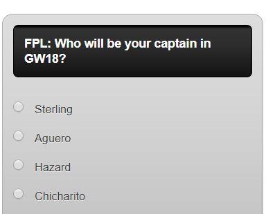fantasy premier league GW18 captain poll