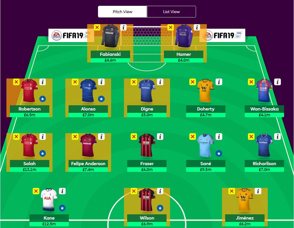 fantasy premier league team tips GW18