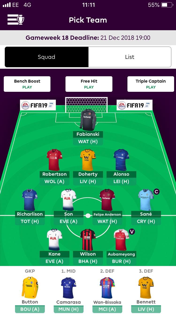 FPL team tips gameweek 18