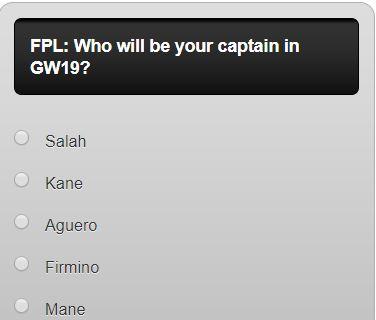 fantasy premier league GW19 captain poll
