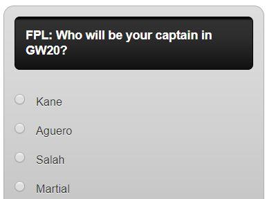 fantasy premier league GW20 captain poll