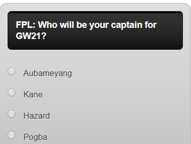fantasy premier league GW21 captain poll