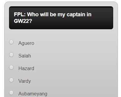 fantasy premier league GW22 captain poll