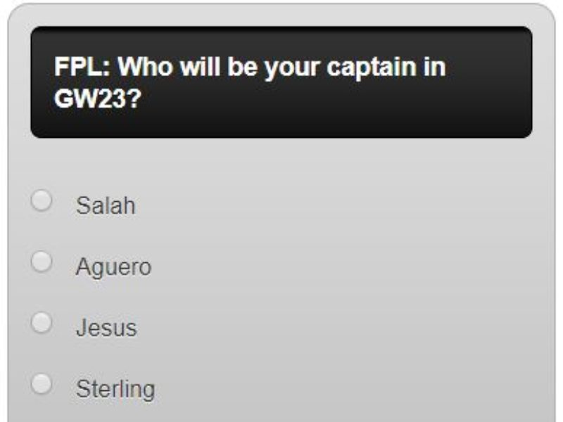 Fantasy premier league GW23 captain poll – plus a transfer in and out poll