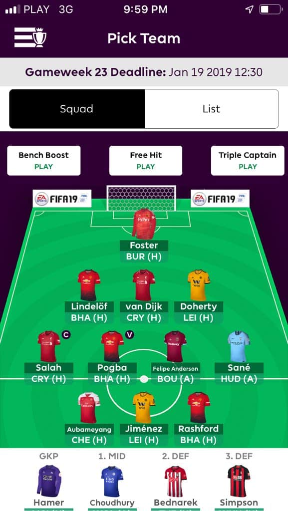 Fantasy premier league team tips GW23