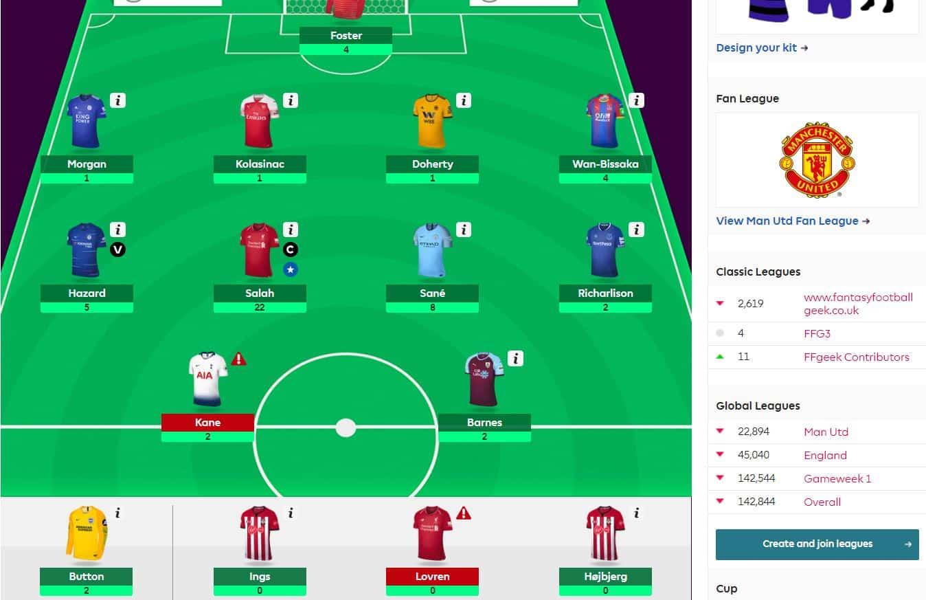 fantasy premier league team selection GW23