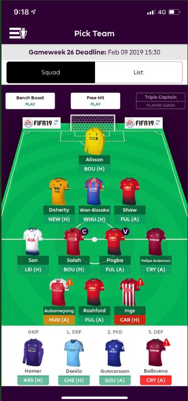 Fantasy premier league team tips GW26