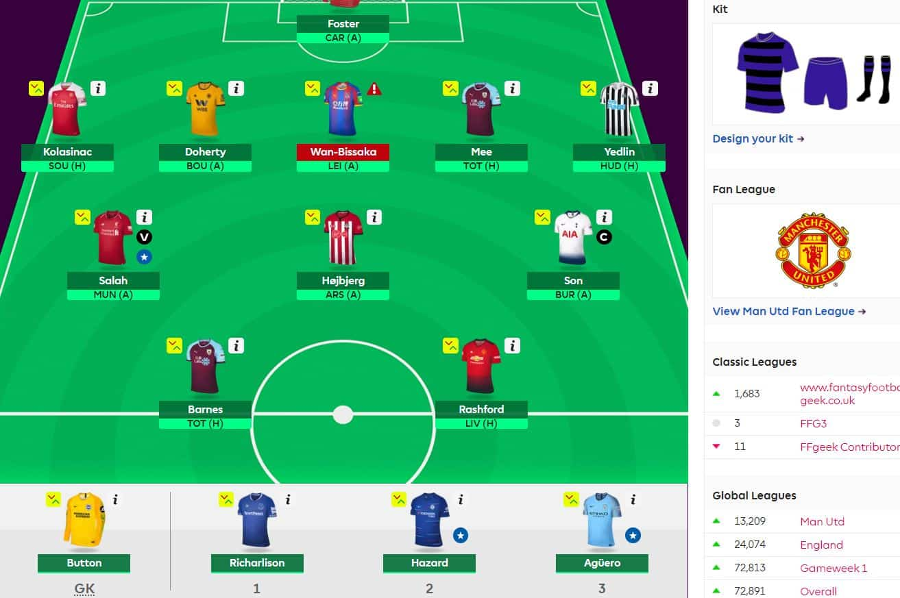 fantasy premier league team selection GW27