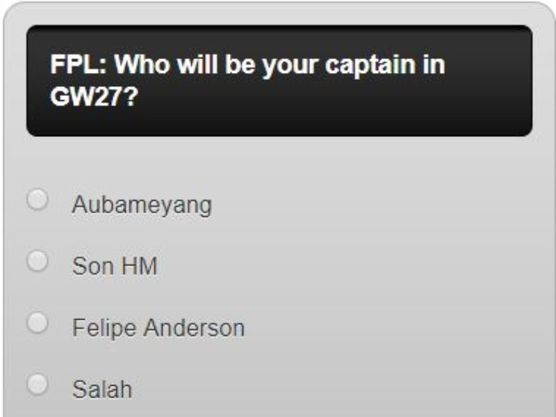 Fantasy premier league GW27 captain poll – plus a transfer in and out poll