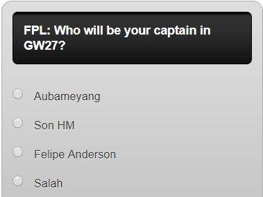 fantasy premier league GW27 captain poll