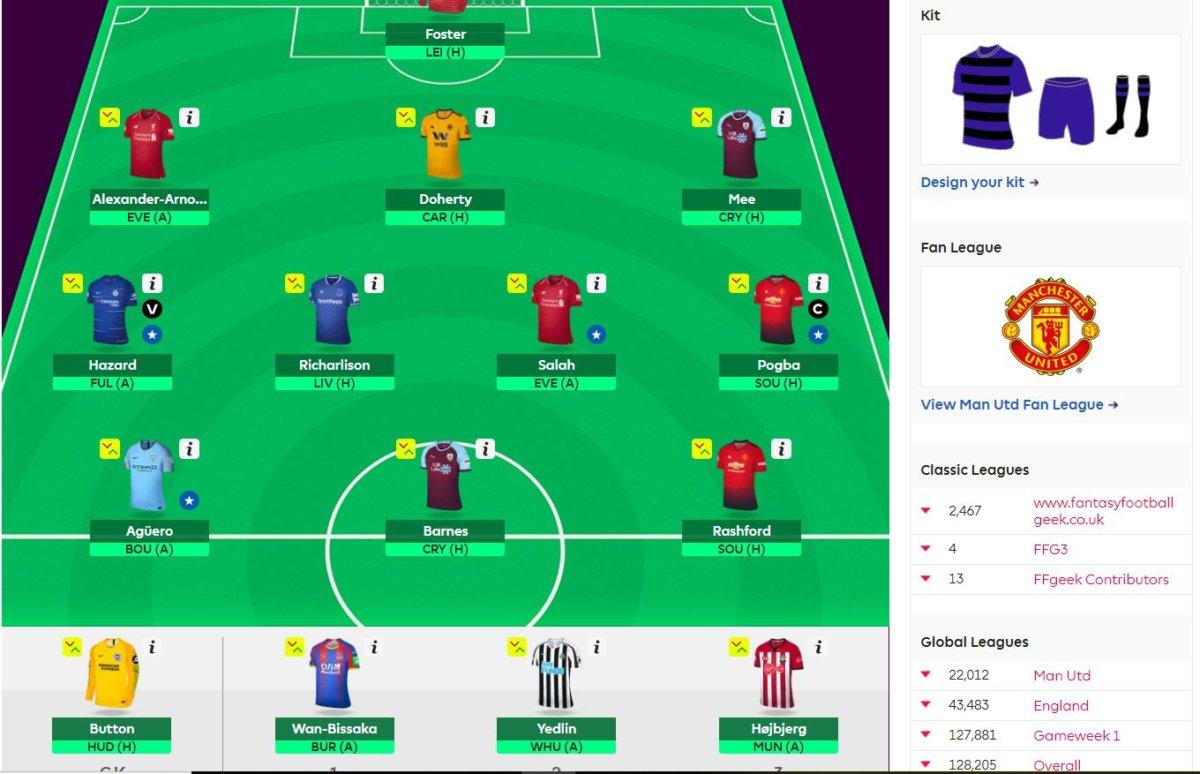 fantasy premier league team selection GW29