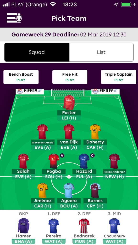 Fantasy premier league team tips GW29