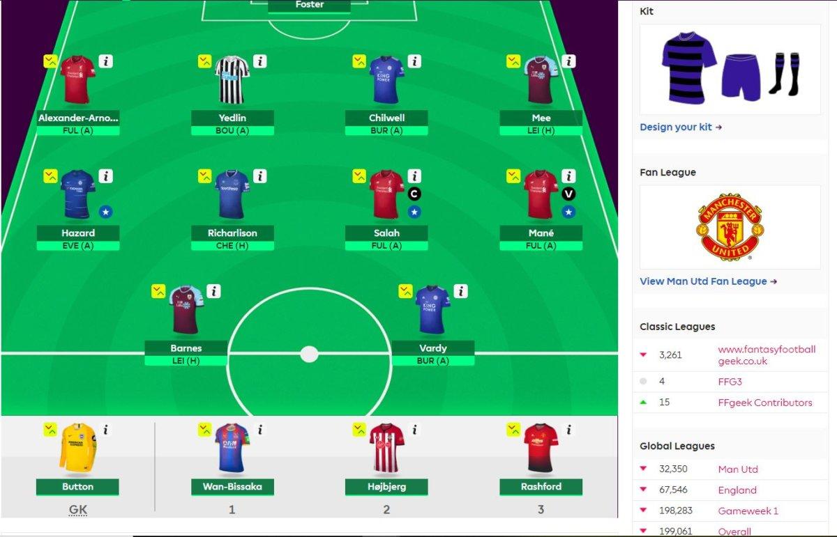 fantasy premier league team selection GW31