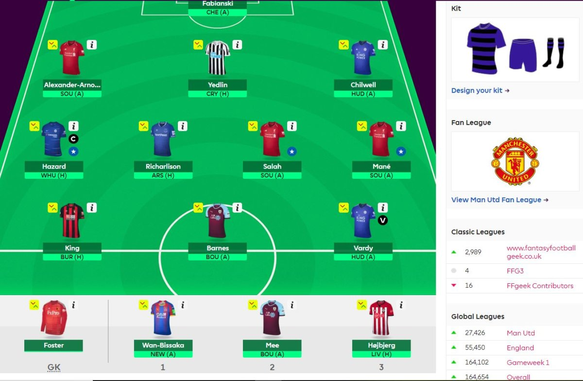 fantasy premier league team selection GW33