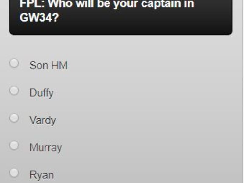Fantasy premier league GW34 captain poll – plus polls for your wildcard team and who you are planning on captaining in DGW35