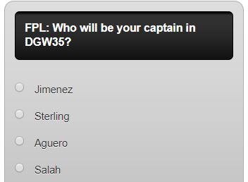 fantasy premier league GW35 captain poll