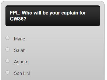 fantasy premier league GW36 captain poll