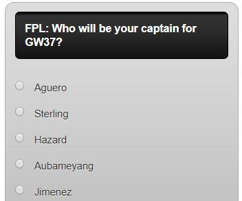 fantasy premier league GW37 captain poll