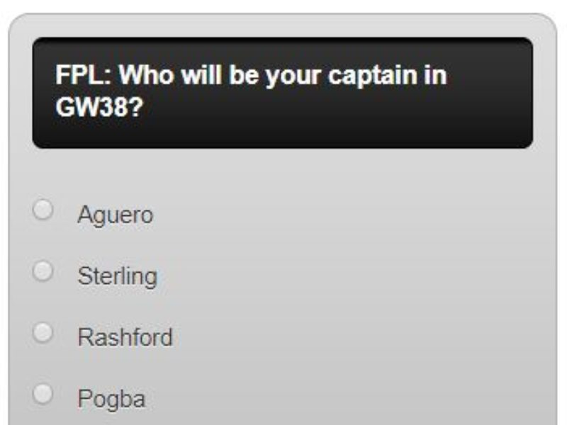 Fantasy premier league GW38 captain poll – plus a transfer in and out poll