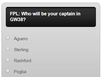 fantasy premier league GW38 captain poll