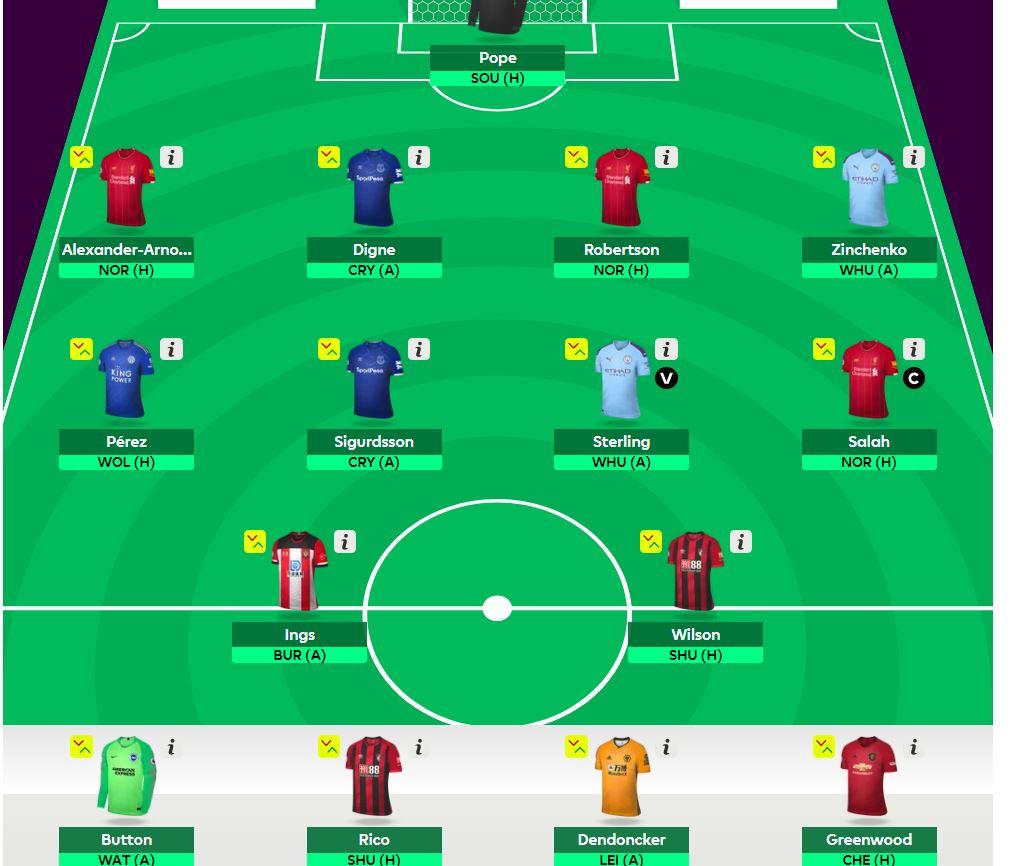 fantasy premier league GW1 team selection