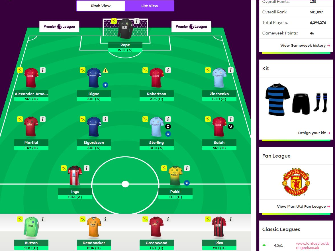 fantasy premier league team selection GW3