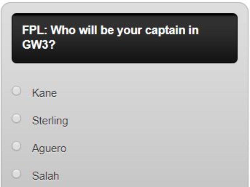 Fantasy premier league GW3 captain poll – who will be your captain in GW3?