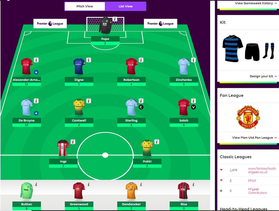 fantasy premier league team selection GW5