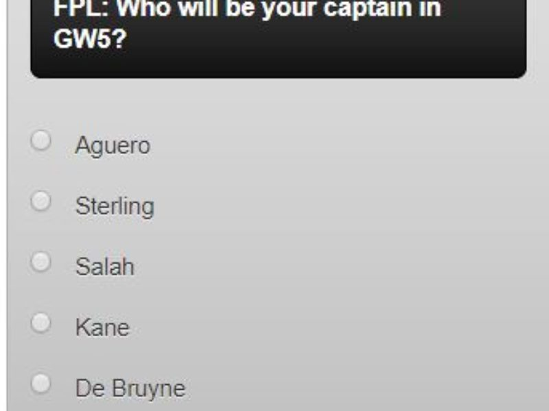 FPL captain poll GW5 – plus a transfer in and out poll